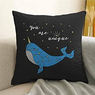 FreeKite Narwhal Silky Pillowcase Cute Hand Drawn Cartoon Character Star Patterned Narwhal with Inspirational Quote Super Soft and Luxurious Pillowcase W18 x L18 Inch Multicolor