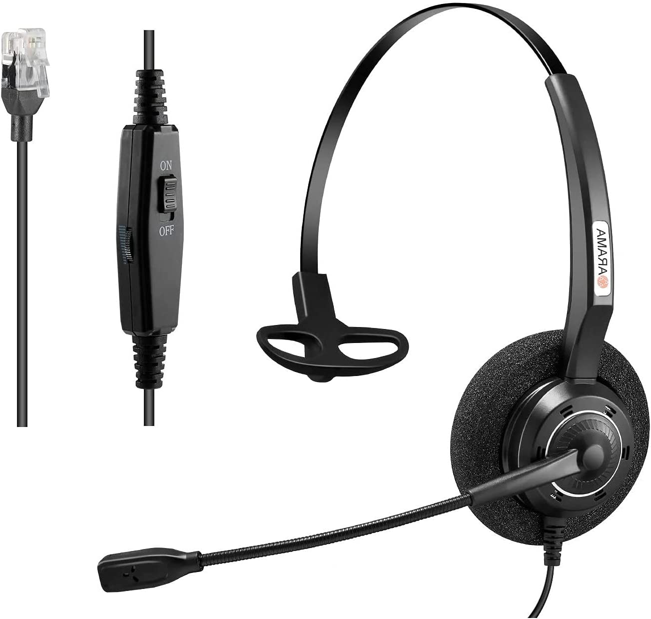 Arama Phones Headset RJ9 with Pro Noise Canceling Mic and Mute Switch Wired Office Headset Compatible with Polycom Mitel Plantronic ShoreTel Avaya Zultys Toshiba NEC Aspire Nortel Landline Phones