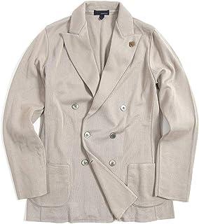 [ラルディーニ] ニットジャケット 6Bダブル ピークドラペル メンズ 春夏 コットン 100% 無地 ライト グレー イタリア ブランド カジュアル ブートニエール付き Lサイズ