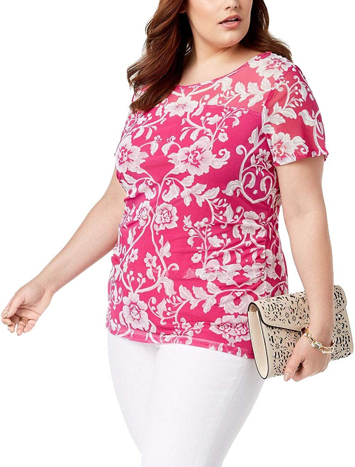 I.N.C. International Concepts Women's Plus Size SideRuched Print Top