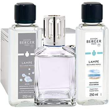 Lampe Berger Giftset - Essential Square - Home Fragrance Diffuser - Includes 2 Fragrances So Neutral and Ocean Breeze - 250 milliliters - 8.45 Fluid Ounces