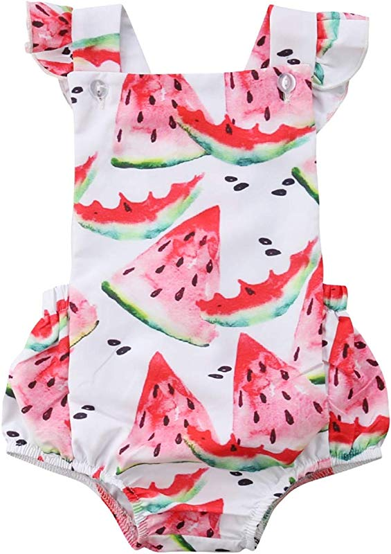 Jinbaolong Sale Watermelon Romper 3 18M Newborn Baby Girl Ruffles Sleeveless Back Cross Summer Jumpsuit Outfits Sunsuit Clothes