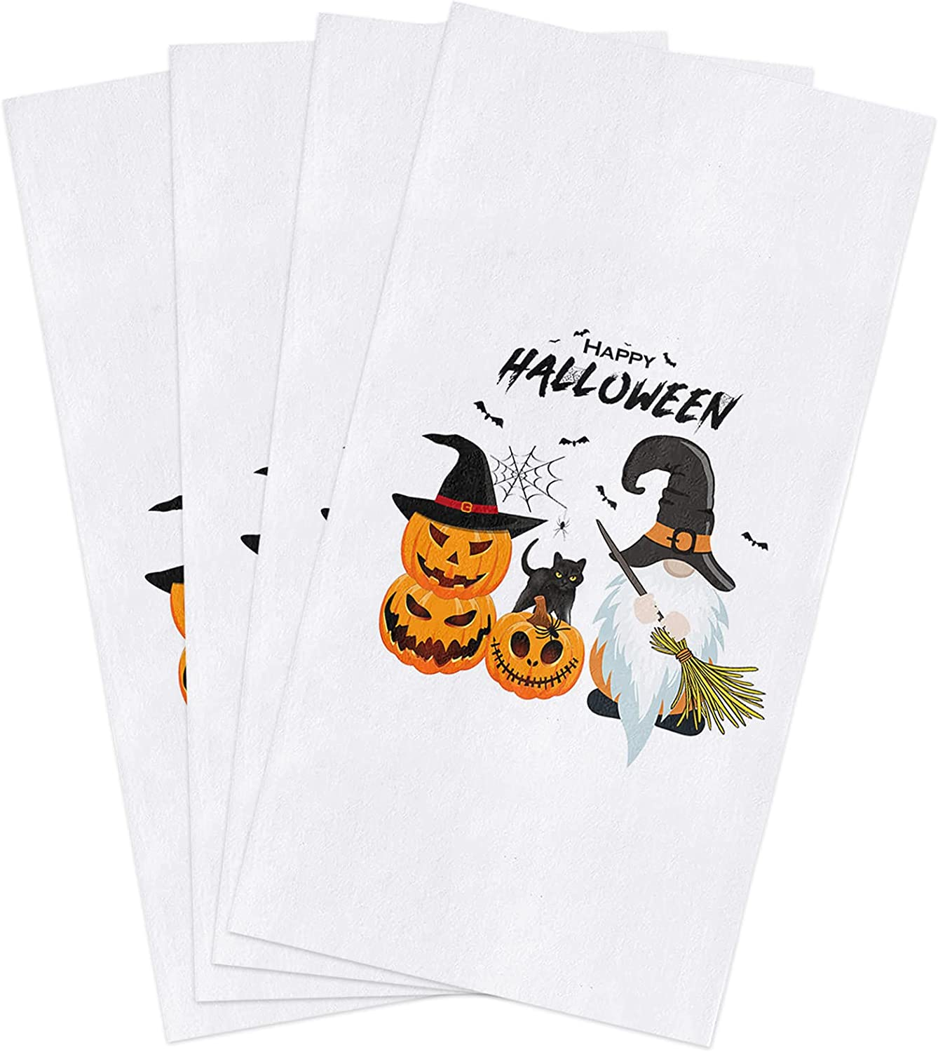 BoNuer Halloween Kitchen Towel Set of Pumpkin Max 79% OFF Bats Spring new work one after another 4 Dish