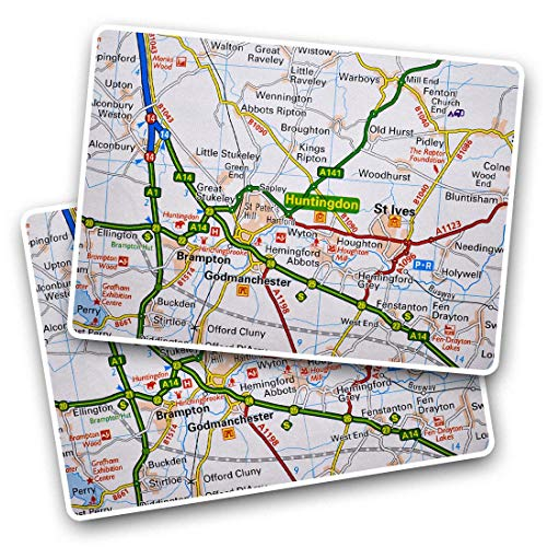 Awesome Rectangle Stickers(Set of 2) 7.5cm - Huntingdon England Travel Map UK GB Fun Decals for Laptops,Tablets,Luggage,Scrap Booking,Fridges,Cool Gift #45376