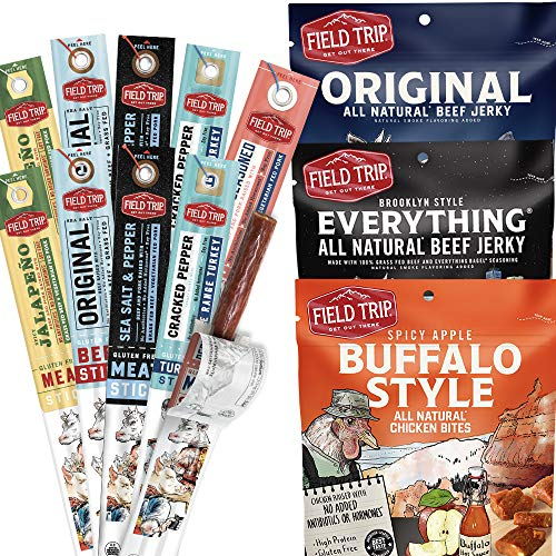 Field Trip Snacks Variety Jerky and Stick Bundle | All Natural Jerky Variety Pack | All Natural and Grass Fed Beef | Nitrate and Nitrite Free Low Fat Protein Snack - 13 Count