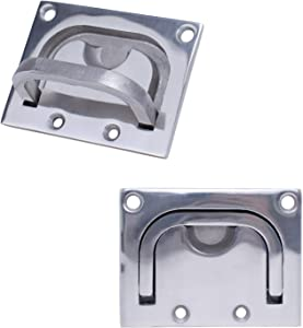 Muzata T316 Flush Pull Ring Handles,Hidden Recessed Furniture Handle,Boat Ring Hatch Square Pull Flush Lift Marine Grade Stainless Steel 2 Pack BH06,Series BH1