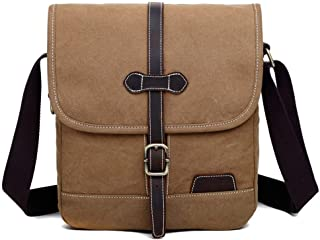 YIBEIANYU New Korean Version of The Casual Shoulder Slung Small Bag Outdoor Retro Simple Tide Mini Backpack (Color : Khaki)
