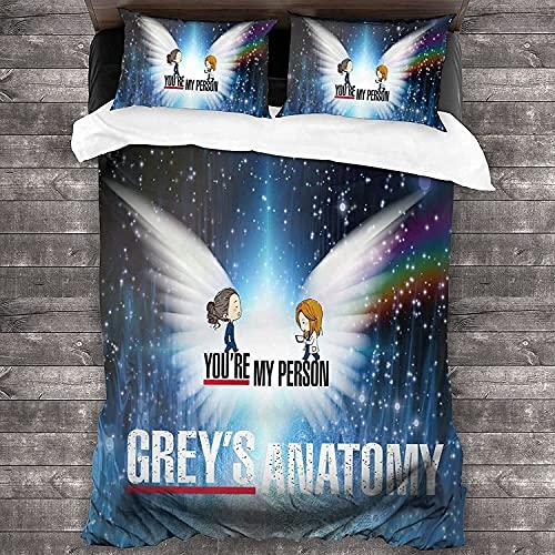 Grey's Anatomy - Juego de cama (3 piezas, 135 x 200 cm + 50 x 75 cm x 2)
