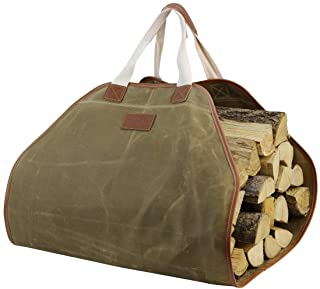 Canvas Log Carrier Bag,Durable Wood Tote,Fireplace Stove Accessories,Extra Large Firewood Holder with Handles for Camping ...