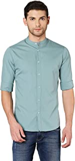 Dennis Lingo Men's Solid Dusty Teal Slim Fit Casual Shirt