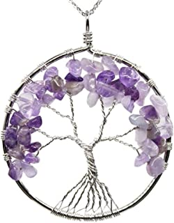 Tree of Life Gemstone Pendant Necklace 26 inch Healing Crystals Chakra Gem Stones Jewelry Women Girls Men Birthday Mother's Gifts