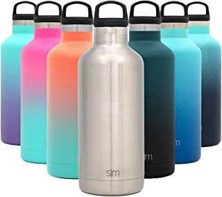 Simple Modern 32oz Ascent Water Bottle - Hydro Vacuum Insulated Tumbler Flask w/Handle Lid - Silver Double Wall Stainless ...