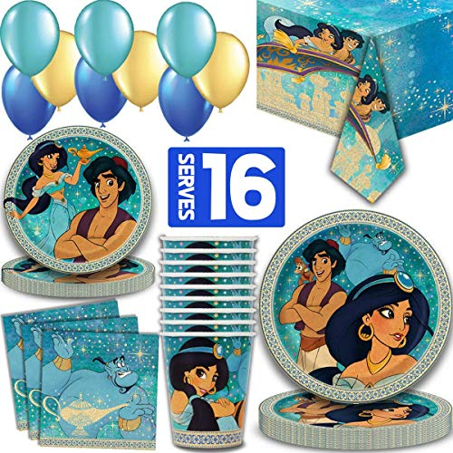 Aladdin Party Supplies for 16 - Large Plates, cake plates, Napkins, Tablecloth, Cups, Straws - Great Decorative Birthday Set with Aladdin, Jasmine, Genie, Magic Carpet, Sultan, Abu, Jafar and more!