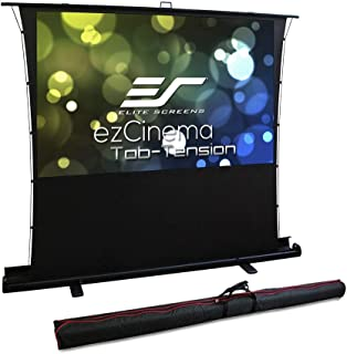 Elite Screens ezCinema Tab Tension, Manual Floor Pull Up with Scissor Backed Projector Screen, 92-inch 16:9, Portable Home Theater Office Classroom Projection Screen with Carrying Bag, FT92XWH