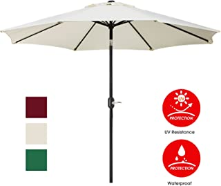 UHINOOS 9 ft Patio Umbrella,Outdoor Umbrella with Crank and 8 Ribs, Polyester Aluminum Alloy Pole Tilt Button Outside Table Umbrella.Fade Resistant Water Proof Patio Table Umbrella(Ivory)
