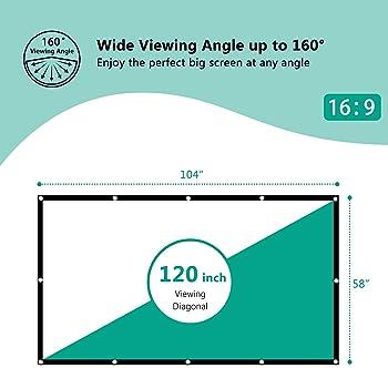 EleTab 120 inch Projector Screen Portable 16:9 HD Outdoor Indoor Projector Movies Screen Foldable Anti-Crease for Hom...