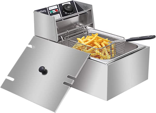 ZOKOP 6L Electric Deep Fryer Kitchen Frying Machine Countertop Stainless Steel French Fryer W Basket 2500W