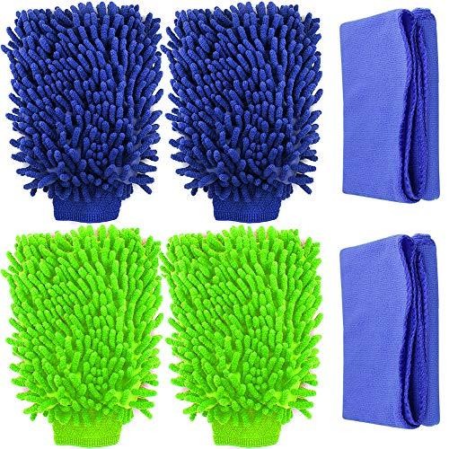 YuCool - 4 manoplas de lavado de coche, impermeables, de microfibra sin arañazos, de alta densidad, ultra suave, uso en húmedo o seco, con 2 paños de limpieza, verde, azul