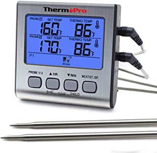 ThermoPro TP-17 Dual Probe Digital Cooking Meat Thermometer Large LCD Backlight Food Grill Thermometer with Timer Mode for Smoker Kitchen Oven BBQ, Silver (Renewed)