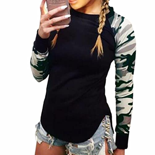 c23b97f9c6 Z Women`s Camouflage Long Sleeve Cuff T-Shirt Casual Black Irregular