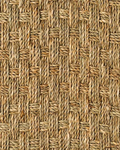 NaturalAreaRugs Basketweave Seagrass for Wall to Wall Carpet Installation – 100% Seagrass with Latex/Cotton Backing - 13'ft Wide Custom Lengths Priced by The Foot - up to aprox. 98'ft