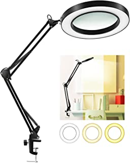 LANCOSC LED Magnifying Lamp with Clamp, 1,500 Lumens Stepless Dimmable, 3 Color Modes, 5-Diopter 4.3? Real Glass Lens, Adjustable Swivel Arm Lighted Magnifier Light for Reading Craft Close Work-2.25X