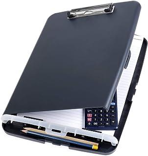 Officemate Boîte de rangement pour presse-papiers (format A4) - Boîte de rangement fin et compacte pour documents comparti...