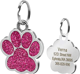 Didog Glitter Paw Print Custom Pet ID Tags for Small Medium Large Dogs and Cats,Personalized Engraving