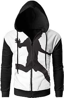 Feitengdaye Soccer Player Men's Full-Zip Hooded Jacket Coat Sweatshirt Outdoor Sports Classic Fit
