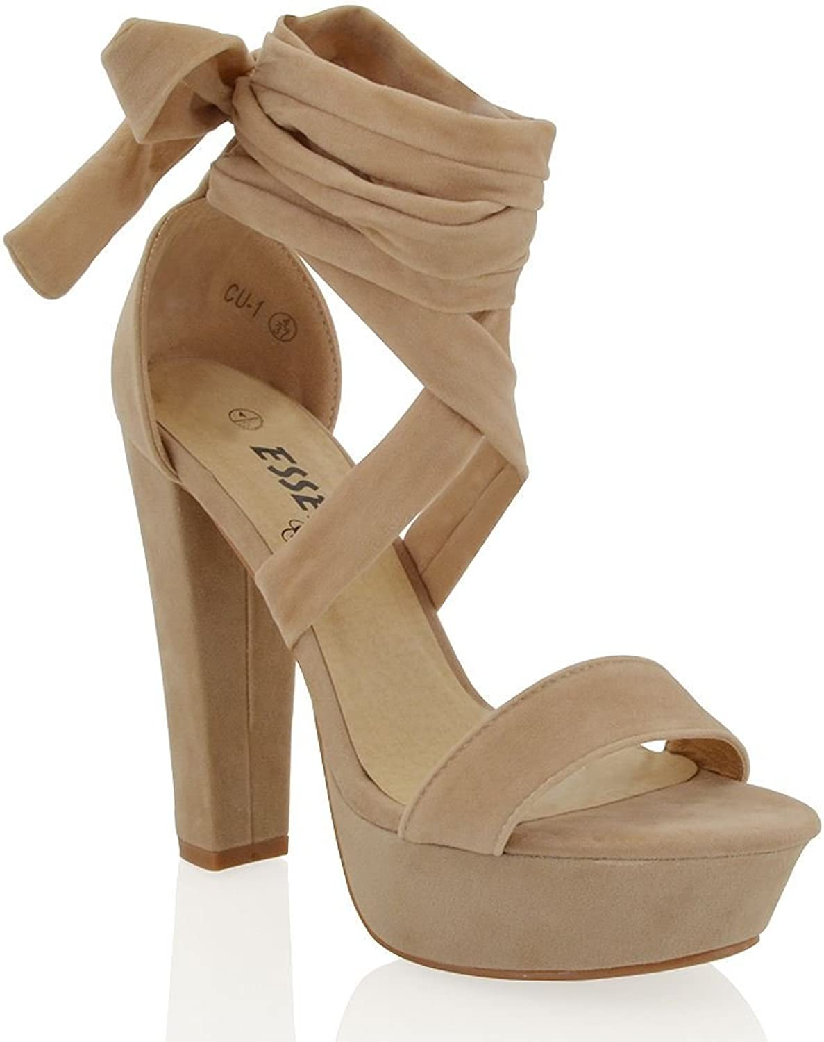 ESSEX GLAM Womens Block Chunky Heels Platform Lace Up Faux Suede Strappy Tie Up Sandals shoes