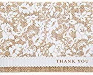 Country Burlap,Lace, and Floral Swirls Printed Thank You Notecards and Envelopes, 50 sets
