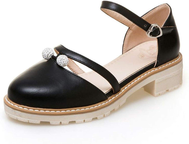 Summer Women Sandals Round Toe Bead Square Heels shoes Buckle Women Leisure Footwear