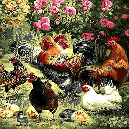 nobrand Rahmenloses Neuankömmling Einzigartiges Geschenk Digitales Ölgemälde Auf Leinwand Gemälde Nach Zahlen Dekoratives Bild Garten Spielen Hallo Hühner