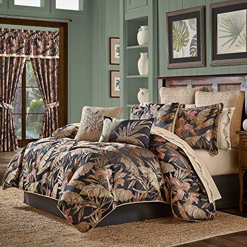 Five Queens Court Martina Tropical Luxury 4 Piece Comforter Set, Black, Queen 92X96