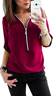 SERAPHY Women V-neck Blouse Half Sleeve Office Work Shirt Chic Tunic Tops with Zipper