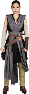 Deluxe Womens Rey Costume & Belt & Bag Outfit for Halloween Cosplay