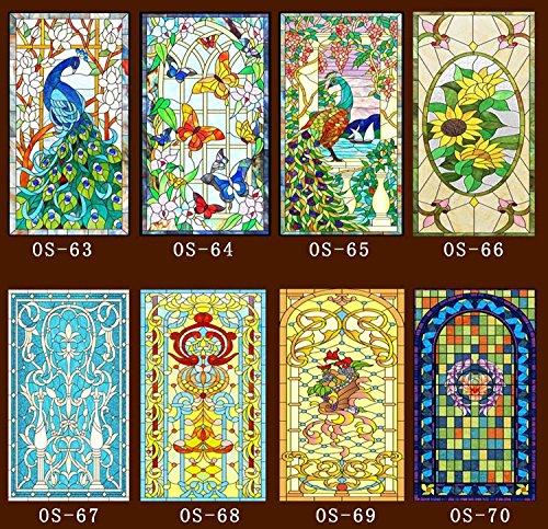 Generic Dekoratives Buntglasfenster, Folie, maßgeschneiderte Kleiderschränke, Türen, Kirche, Buntglas, 60 x 100 cm (Farbe: OS69)