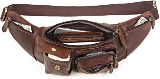 Chest Bag Casual Retro Leather Men's Bag Multi-Functional Fashionable Men Cross Body Fanny Pack Men's Bag (Color : Chocolate Color, Size : S)