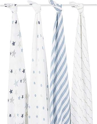 美国 aden+anais muslin棉 经典多功能 纱布 襁褓 包巾 摇滚明星 (120*120cm) 4只装 白色