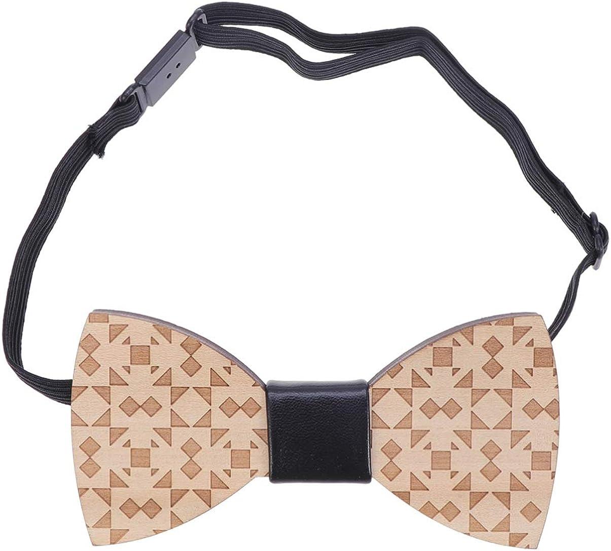 Healifty Wooden Bowtie Geometric Decorative Cravat Clothes Accessory Bow for Festival Party Wedding Decor