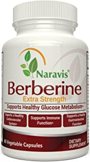 Naravis Berberine HCl Complex Supplement - 600mg per Capsule - Supports Healthy Blood Sugar & Insulin Metabolism - Helps Cardiovascular Gastrointestinal & Immune Systems - Vegan