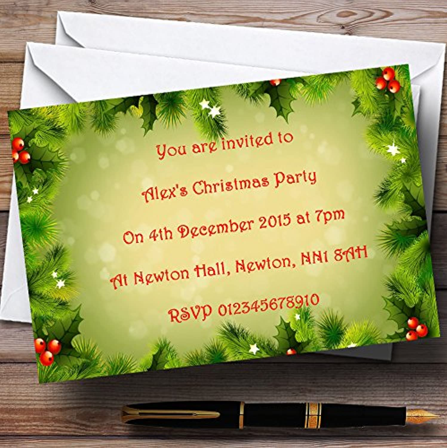 Holly And Berries Personalised Christmas   New Year   Holiday Party Invitations   Invites & Envelopes