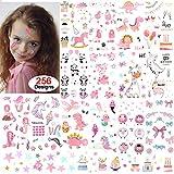 Konsait Tatuajes Temporales para Niños, niñas, 256 diseños Falsos Tatuajes Pegatinas para niños niñas Fiestas Infantiles Fiesta de cumpleaños Regalo piñata, Unicornio, Sirena