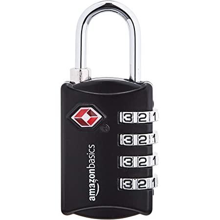 Amazon Basics TSA Accepted Cable 4-Digit Combination Lock, Black, 2-Pack