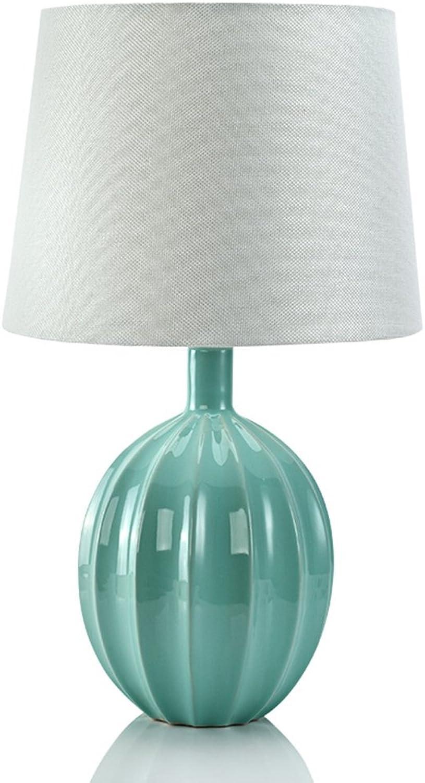 AJZGF Nordic creative lamp Tischlampe Schlafzimmer Nachttischlampe Mediterranen Stil Wohnzimmer Studie Keramik Dekorative Hellblau Druckschalter E27 Table lamp