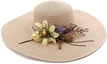 2019 Women Womens Summer Hat Wide Side Beach Hat for Women Crochet Hat Soft Hat Desold Welding Straw Hat Women Flower Wreath Striped Floral Satin Outdoor (Color : Pink, Size : 56-58CM)