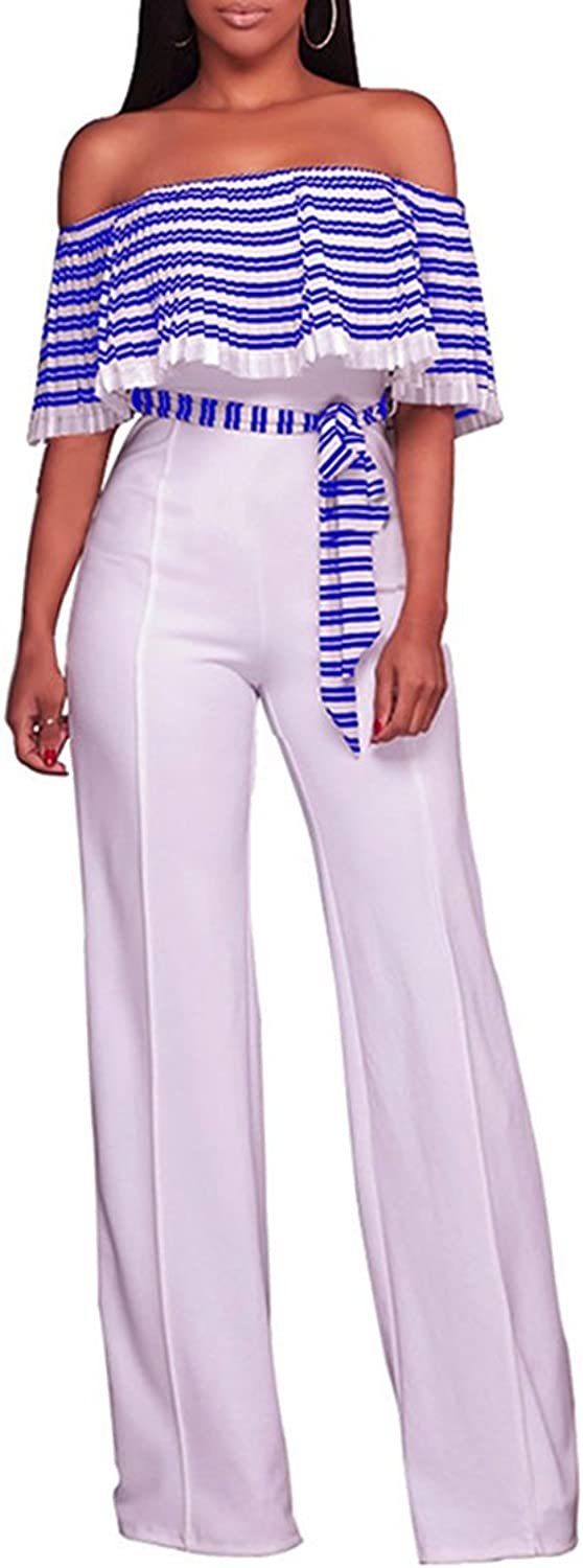 Rokiney Women Off Shoulder Stripe Print Ruffle Wide Leg Pants Jumpsuit With Belt
