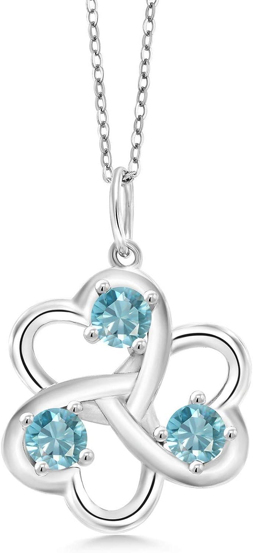 Gem online shop Stone King 925 Sterling Silver Translated 3 Interloc Blue Hearts Zircon