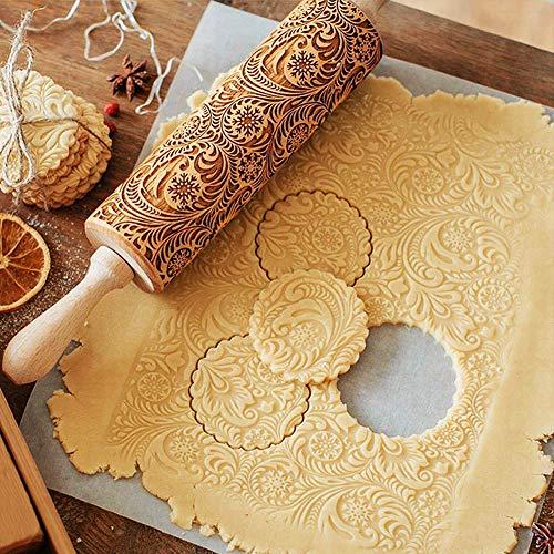 TTCOTOKE Weihnachten Präge Nudelholz, 2020 NEU Weihnachten Geprägt Teigroller, 3D Holz Nudelholz, Teigroller mit Prägung, DIY Küchenwerkzeug Backzubehör für Fondant Teig Pizza Amygline Keks