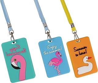 Lot de 3 porte-badges d'identification avec cordon tour de cou et boucle de dégagement pour carte de bus de voyage